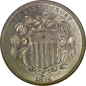 1874 5C MS obverse