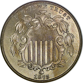 1875 5C MS obverse