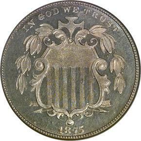 1875 5C PF obverse