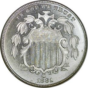 1881 5C PF obverse