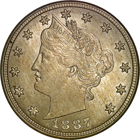 1887 5C MS obverse