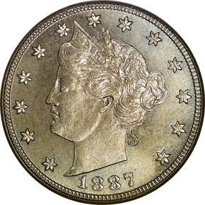 1887 5C PF obverse