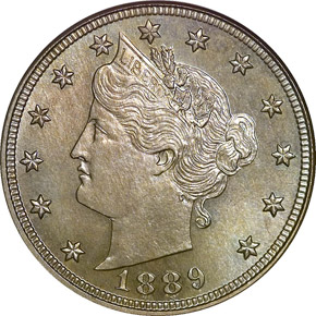 1889 5C PF obverse