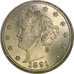 1891 5C MS obverse