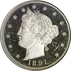 1891 5C PF obverse