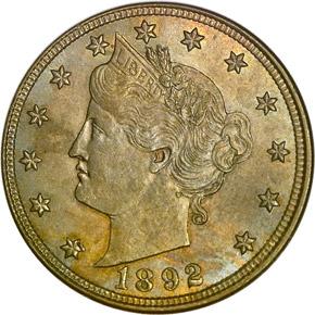 1892 5C MS obverse