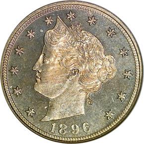 1896 5C PF obverse