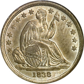 1838 LARGE STARS 10C MS obverse