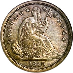 1840 O NO DRAPERY 10C MS obverse