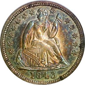 1843 10C MS obverse