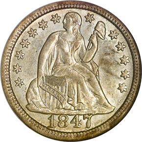 1847 10C MS obverse