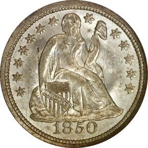 1850 10C MS obverse
