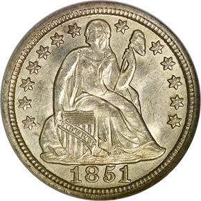 1851 10C MS obverse