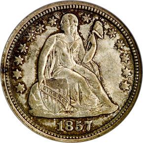1857 10C MS obverse