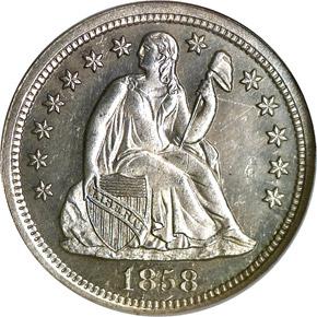 1858 10C PF obverse