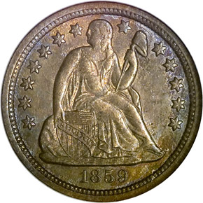 1859 S 10C MS obverse
