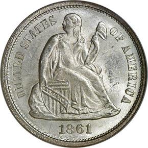 1861 10C MS obverse
