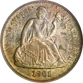 1861 S 10C MS obverse