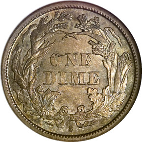 1861 S 10C MS reverse
