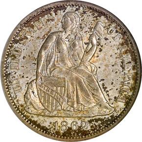 1862 S 10C MS obverse