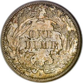 1862 S 10C MS reverse