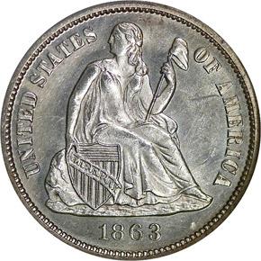 1863 10C MS obverse