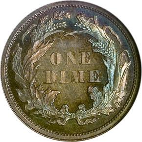 1863 10C PF reverse
