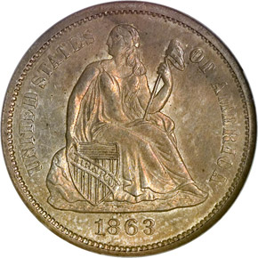 1863 S 10C MS obverse