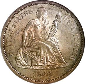1866 S 10C MS obverse