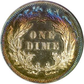 1867 10C PF reverse