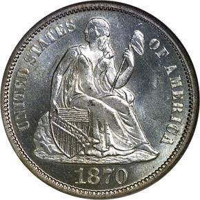 1870 S 10C MS obverse