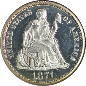 1871 10C PF obverse