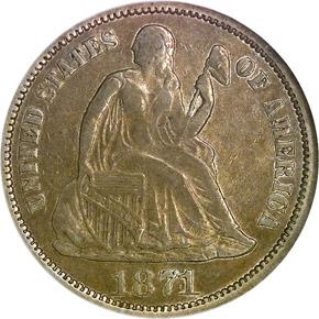 1871 CC 10C MS obverse
