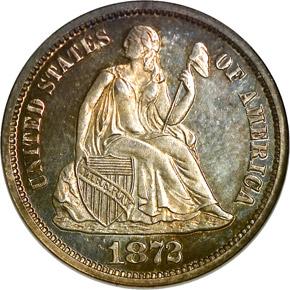1872 10C PF obverse