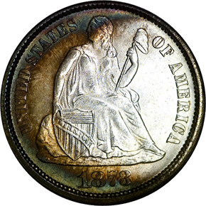 1873 CL 3 NO ARROWS 10C MS obverse