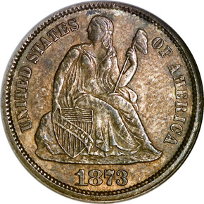 1873 OP 3 NO ARROWS 10C MS obverse