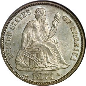 1874 ARROWS 10C MS obverse