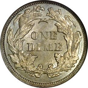 1874 ARROWS 10C MS reverse