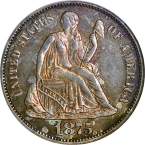 1875 10C PF obverse