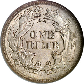 1875 S BELOW BOW 10C MS reverse