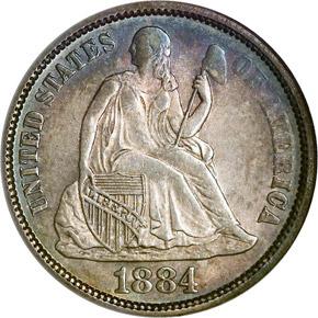1884 10C MS obverse
