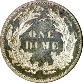 1885 10C PF reverse