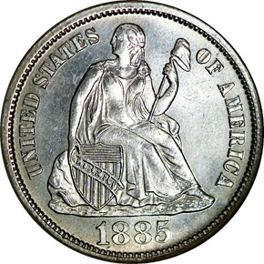 1885 S 10C MS obverse