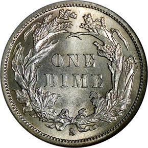 1885 S 10C MS reverse