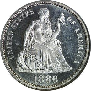 1886 10C PF obverse