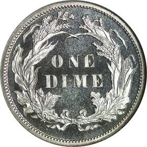 1886 10C PF reverse