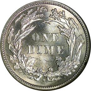 1886 S 10C MS reverse