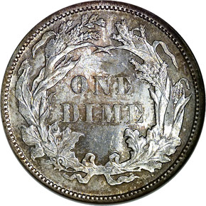 1887 10C MS reverse