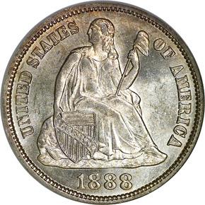 1888 S 10C MS obverse