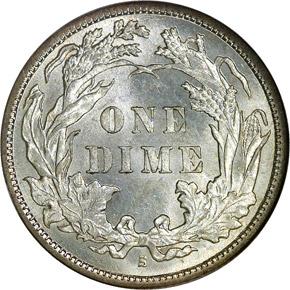 1889 S 10C MS reverse